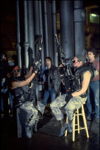 Armata sul set, con Mark Rolston