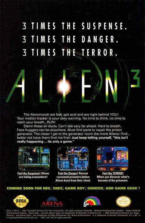 Alien3 Genesis spot [1992-06]