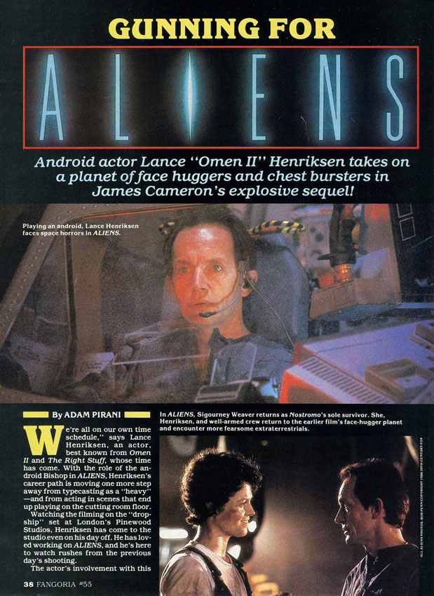 """[1986-07] Lance Henriksen su """"Fangoria"""" 55"""